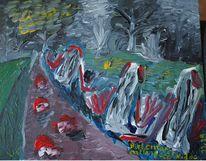 Fluss, Nacht, Baum, Acrylmalerei