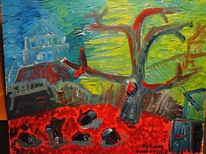 Farben, Expressionismus, Baum, Acrylmalerei