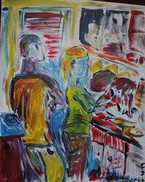Acrylmalerei, Küche, Expressionismus, Person