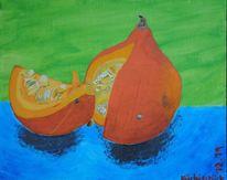 Stillleben, Acrylmalerei, Kürbisse, Farben