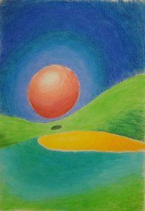 Pastellmalerei, Kugel, Sonne, Himmel