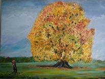 Herbst, Naturliebendes paar, Buntes laub, Malerei