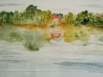 Ruhe, Herbst, Aquarell, See