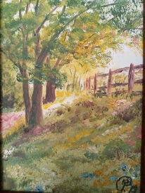 Blühende wiese, Licht, Frühling, Baum