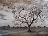 Herbst, Baum, Vogelzug, Aquarell