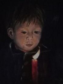 Junge, Weihnachten, Malerei
