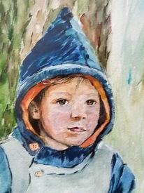 Portrait, Am baum lehnend, Junge, Aquarell