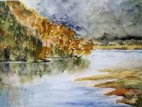 Stimmung, Herbst, Baum, Wasser