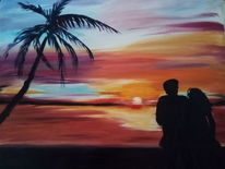Stimmung, Romantik, Sonnenuntergang, Strand