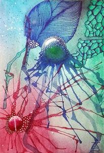 Abstrakt, Blau, Blumen, Türkis