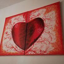 Aquarellmalerei, Rot, Abstrakt, Aquarell