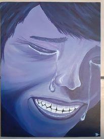 Traurig, Frau, Angst, Malerei