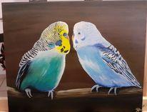 Wellensittiche, Acrylmalerei, Tiere, Malerei