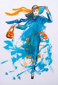 Acrylmalerei, Kindermalerei, Menschen, Wind