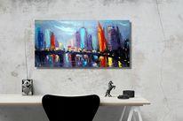 Modern art, Skyline, Zeichnung, Ölmalerei