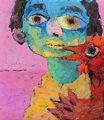 Ölmalerei, Junge mit hahn, Öl auf karton, Liebe