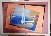 Acrylmalerei, Meer, Boot, Malerei