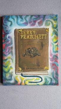 Buch auf leinwand, Malerei, Acrylmalerei, Farben