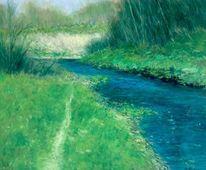 Flussweg, Frühling, Fluss, Malerei
