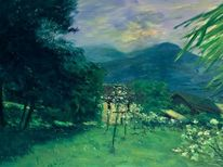 Landschaft malerei, Frühling, Tessin, Malerei