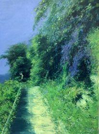 Landschaft malerei, Garten, Bougainvillea, Tessin