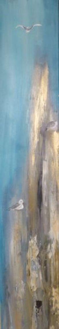 Poller, Blau, Möwe, Acrylmalerei