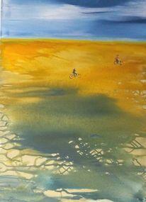 Radfahren, Acrylmalerei, Stimmung, Landschaft