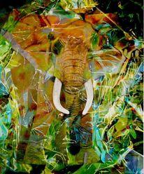 Elefant, Klarsichtfolie, Verpacken, Malerei