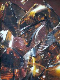 Acrylmalerei, Scherbe, Veltinsflasche, Lichteffekte