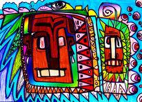 Schamane, Visionär, Zeichnung, Abstrakt