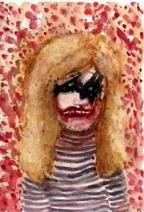 Portrait, Blond, Frau, Mischtechnik