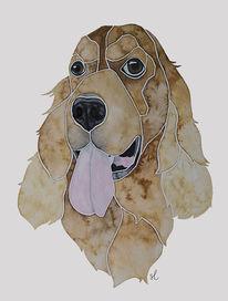 Erinnerung, Hundeportrait, Nach fotovorlage, Cockerspaniel