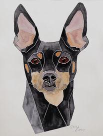 Handgemaltes hundeportrait, Pinscher, Aquarellmalerei, Mini pinscher