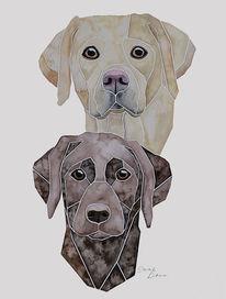 Nach fotovorlage, Labrador, Hundeportrait, Tierportrait