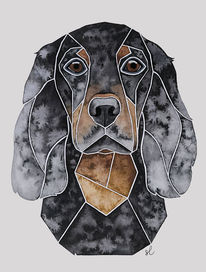 Tierportrait, Aquarellmalerei, Hundeportrait, Malen