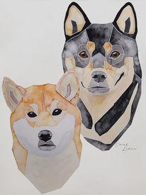 Hundeportrait, Malen, Shibainu, Geschenkidee