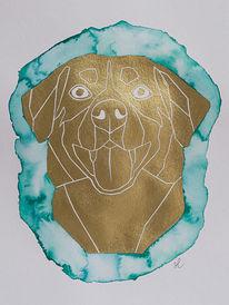 Auftragsarbeit, Malen, Modernes hundebild, Goldfarben