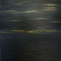 Abendstimmung, Melancholie, Acrylmalerei, Sonnenuntergang