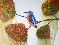 Abstrakte malerei, Tiere, Malerei, Eisvogel