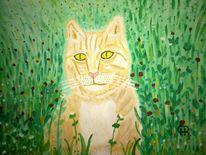 Landschaft, Abstrakte malerei, Katze, Malerei