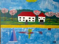 Fantasie, See, Abstrakte malerei, Landschaft