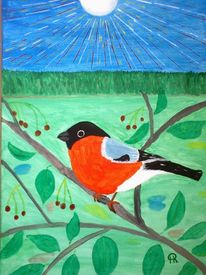 Abstrakte malerei, Landschaft, Vogel, Malerei