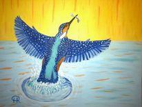 Vogel, Abstrakte malerei, Malerei, Eisvogel