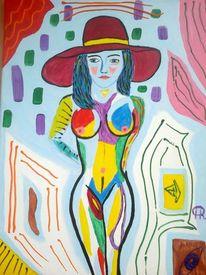 Abstrakte malerei, Akt, Malerei, Strand