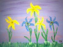 Abstrakte malerei, Blumen, Iris, Malerei
