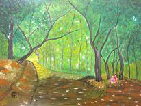 Abstrakte malerei, Landschaft, Malerei, Wald