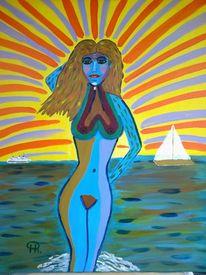 Abstrakte malerei, Akt, Frau, Malerei