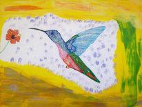 Abstrakte malerei, Vogel, Malerei, Kolibri