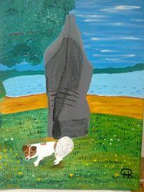 Abstrakte malerei, Tiere und landschaft, Malerei, See