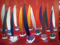 Spor, T wasser, Segelboot, Abstrakte malerei